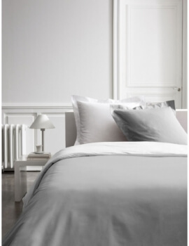 Housse de couette - 260 x 240 cm + taies - Percale - Bicolore - Zinc / Chantilly