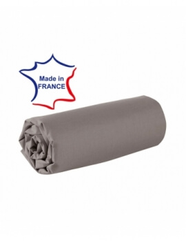 Drap housse - Taupe - 80 x 200 cm - 100% coton - 57 fils - Made in France