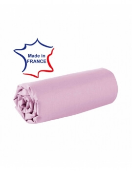 Drap housse - Rose - 80 x 200 cm - 100% coton - 57 fils - Made in France