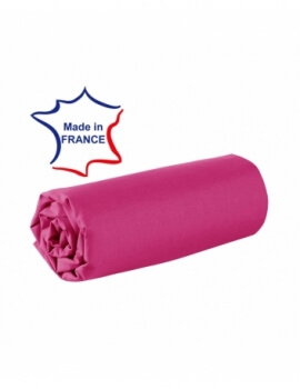 Drap housse - Fuchsia - 80 x 200 cm - 100% coton - 57 fils - Made in France