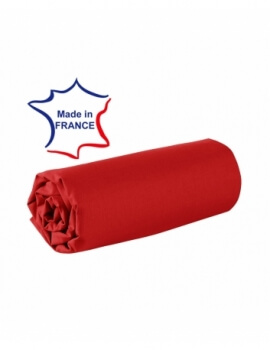 Drap housse - Rouge - 80 x 200 cm - 100% coton - 57 fils - Made in France