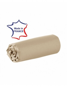 Drap housse - Champagne - 80 x 200 cm - 100% coton - 57 fils - Made in France in France