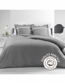 Housse de couette - 240 x 260 cm + taies - Percale - Gris - 78 fils - Uni