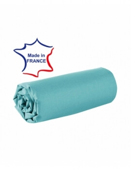 Drap housse - Turquoise - 80 x 200 cm - 100% coton - 57 fils - Made in France