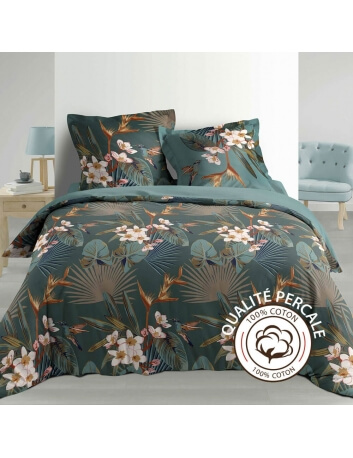 Housse de couette - 260 x 240 cm + taies - percale 78 fils - Florale et colibri